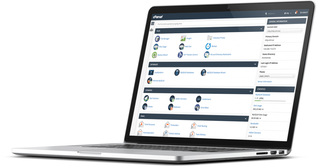 CPanel Interface on a Laptop