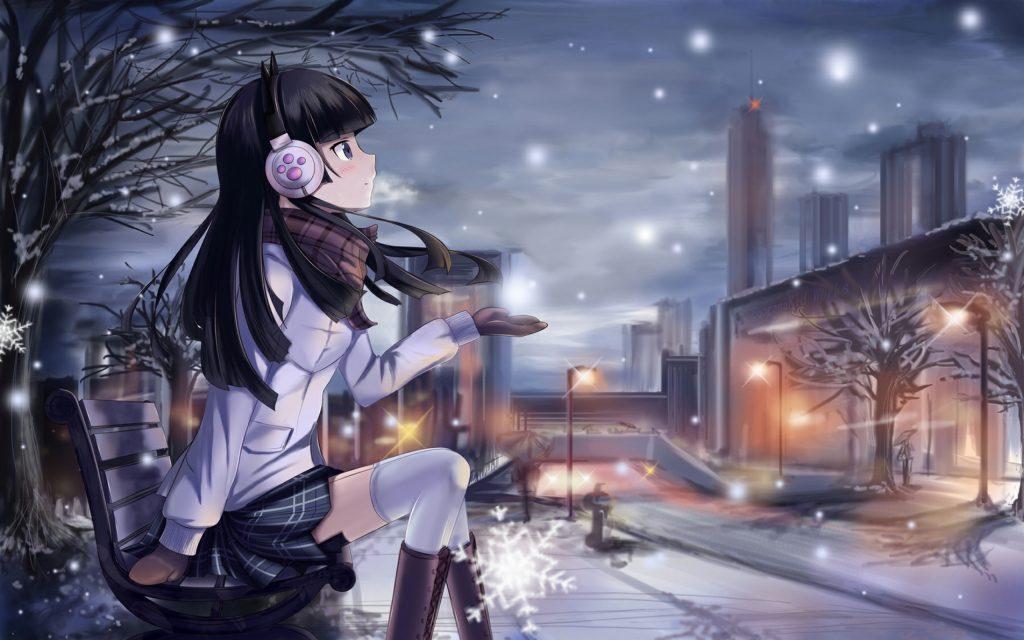 Hear the Music when Snow Fall anime girl